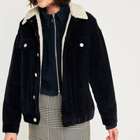BDG Western Borg-Lined Black Corduroy Jacket | Urban Outfitters