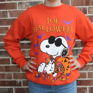 Vintage Peanuts Snoopy Joe Cool 80s 90s Puffy Halloween Sweater Sweatshirt Pullover