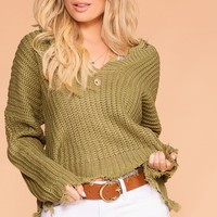 Moving On Olive Knit Distressed Sweater