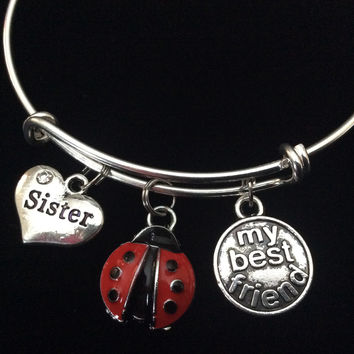 Red Ladybug Sister My Best Friend Expandable Charm Bracelet Adjustable Bangle Trendy Gift
