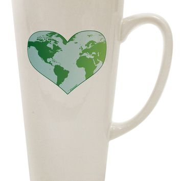World Globe Heart 16 Ounce Conical Latte Coffee Mug