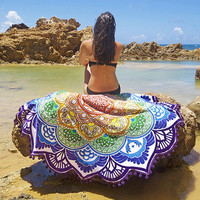 Floral Print Beach Scarf Sunscreen Shawl Wrap Dress Round Mandala Tapestry Wall Hanging Throw Towel Yoga Mat Decor