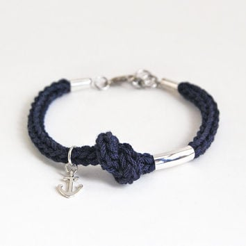 Anchor bracelet, navy blue bracelet with anchor charm and tube, knit rope bracelet, nautical bracelet, knot bracelet