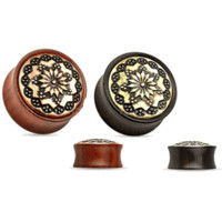 Organic Ear Plugs - Floral Tribal Brass Inlay Wood Saddle Fit Double Flare Plugs