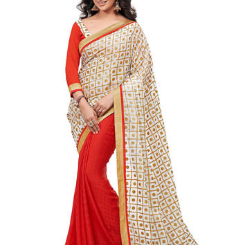 Elegant Hand Painted Red and Gold Exclusive Saree D-117