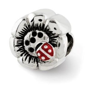 Sterling Silver Flower w/Enameled Ladybug Bead