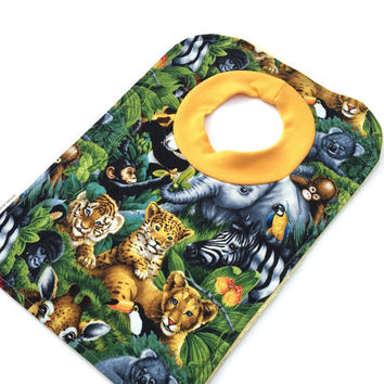 Bib with Animals - Jungle Pullover Bib - Toddler Bib - Baby Bib - Boy or Girl Bib - Large Bib