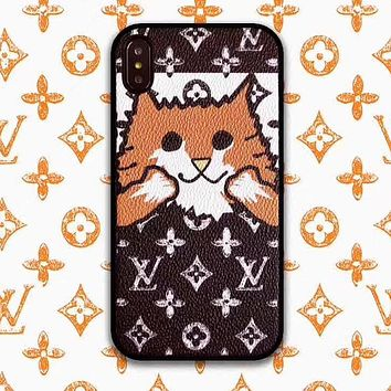 LV Fashionable Women Men Cute New Louis Vuitton Christmas Cat Pattern Mobile Phone For iPhone Phone Cover Case For iphone 6 6s 6plus 6s-plus 7 7plus iPhone 8 8 Plus iPhone X iPhone XsMax