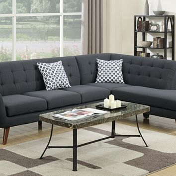 Poundex F6954 2 pc abigail collection ash black linen like fabric upholstered sectional sofa with tufted back