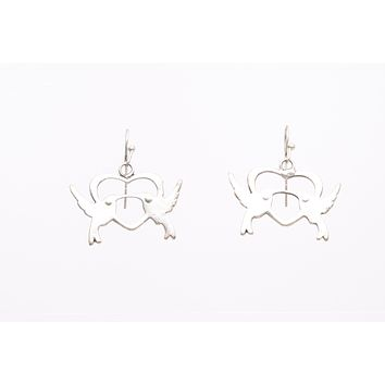 Doves Silver Plated Dangle Fashion Earrings