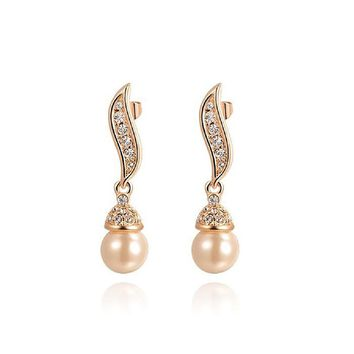 White Pearl Earring and Necklace Sets 18k Rose Gold Plated Wedding Engagement Jewelry Sets