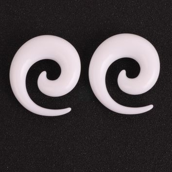 White Acrylic Spiral Ear Gauges Ear Tapers Stretching Plugs And Tunnel Expanders Piercing Body Piercing Jewelry (1.6-12mm)