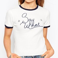 ASOS Crop T-shirt in Rib with Tipping and Say What Print