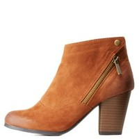 Rust Qupid Asymmetrical Zip-Up Chunky Heel Booties