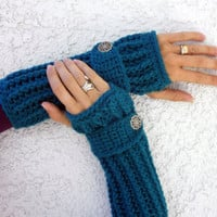 Teal crochet  arm warmers, fingerless gloves ribbed with wrist strap and buttons