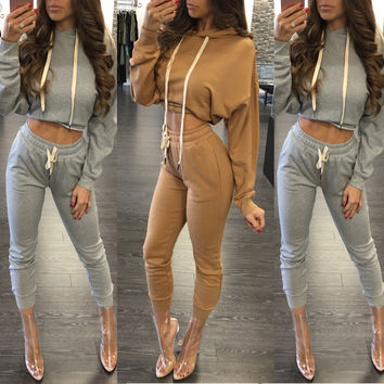 New 2 Piece Set Women Bodysuit Long Sleeve Women Tracksuit Gray Hooded Outfits Sexy Ladies Crop Top Pants Suits