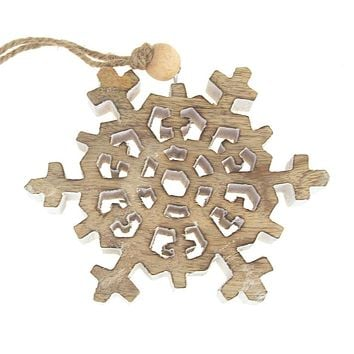 Dendrite Snowflake Wooden Christmas Ornament, Natural/White, 4-1/2-Inch
