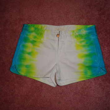 Blue 'Fade-A-Way' Tie Dye jean shorts