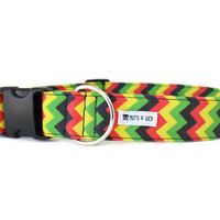 Rasta Dog Collar, Hippie Dog Collar, Boho Dog Collar, Chevron, Red Yellow Green Black, Wide, Small (Upgrade to Metal Buckle or Martingale)