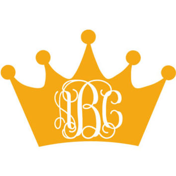 Crown Monogram Decal with Vine Font - Multiple Colors