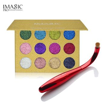 IMAGIC 12 Colors Glitters Eyeshadow Palette & Brush Eyeshadow Combination Cosmetics Unique Radian Eye Shadow Brush Eyes Make Up