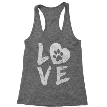 I Love My Dog Paw Print  Racerback Tank Top for Women