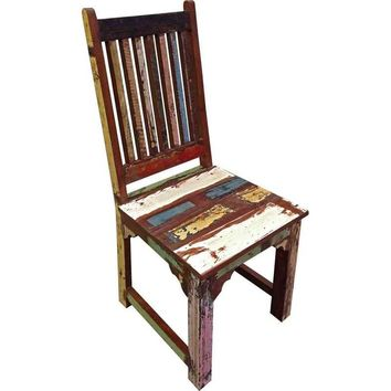 Pre-owned Brix Multicolored Distressed Dining Chair