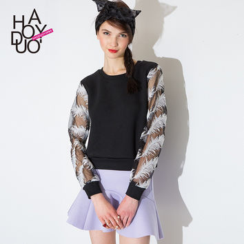 Summer Stylish Feather Embroidery Patchwork Casual Sports Hoodies [6407742852]