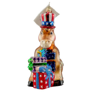 Christopher Radko PARTY ANIMAL Blown Glass Ornament Patriotic Usa Donkey