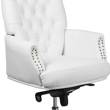 High Back Traditional Tufted White Leather Multifunction Executive Swivel Ergonomic Office Chair with Arms [BT-90269H-WH-GG]