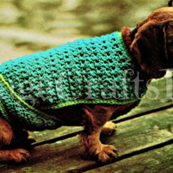 Dog's Bulky Crocheted Coat Vintage Dog Jacket Crochet Pattern - Pdf Pattern - INSTANT Download