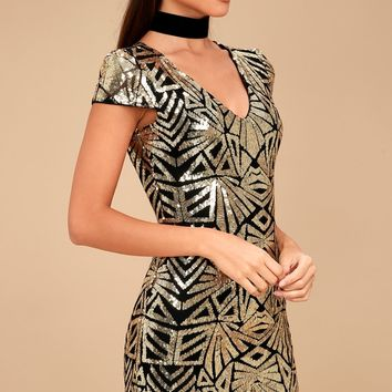Elegant Affair Black and Gold Sequin Print Bodycon Dress