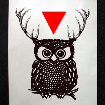 Owl with Antlers and Triangle Mixed Media Illustration Art Print for Home Wall Decor