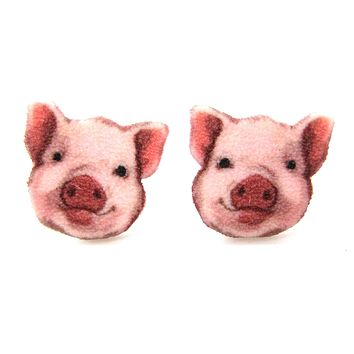 Adorable Pig Piglet Animal Head Shaped Stud Earrings | Handmade Shrink Plastic