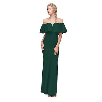 Long Formal Hunter Green Dress Off Shoulder with V-Notch Ruffled Bodice