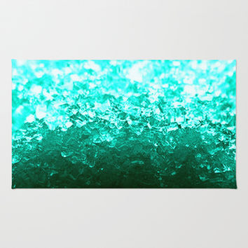 Teal Ombre Crystals Area & Throw Rug by 2sweet4words Designs