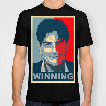 Charlie Sheen OBAMA WINNING tee obey tshirt T-shirt by arul85 | Society6