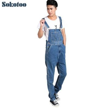 Sokotoo Men's plus size denim overalls Male casual large size jumpsuits Fashion loose blue denim cargo bib pants Free shipping