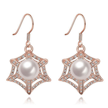 Rose Gold Plated Spider Web Design with Pearl Insert Drop Down Earrings