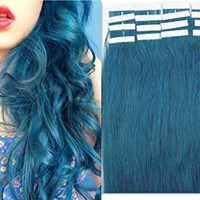 100% Indian Remy Human Hair Extensions PU Tape in Fashion hair piece 20pcs 16 inches color Blue