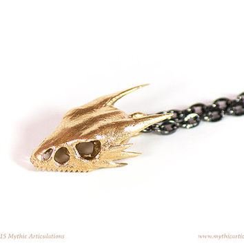 Wyvern Skull Pendant in 3D Printed Bronze