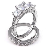 Shekira: 3.9ct Ice on Fire CZ 3 Stone Bridal Wedding Ring Set 925 Sterling Silver, 3098