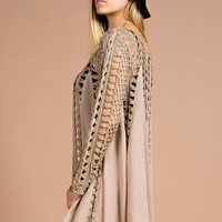 Crochet Sleeve Open Cardigan - Mocha