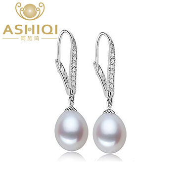ASHIQI Natural Freshwater Pearl Earrings with Teardrop Pearl jewelry For Women christmas earrings gift