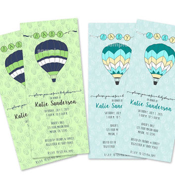 Lime Hot Air Balloon Baby Shower Invitation - Up up and Away Baby Shower Invites - Navy Lime - Baby Blue Yellow - Boy Baby Shower Invite