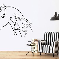 Vinyl Decal Animal Wall Sticker Horse Dog Cat House Pets Farm Decor Kids Room Nursery Unique Gift (ig2402)