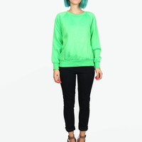 80s Lime Green Sweatshirt Neon Highlighter Fleece Fluorescent Jumper (XS/S)
