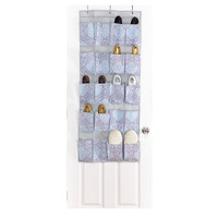 20-Pocket Door Shoe Organizer, Blue, Hanging Organizers
