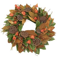 Magnolia & Lantern Flower Wreath