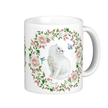 Cat & Roses Coffee Mug